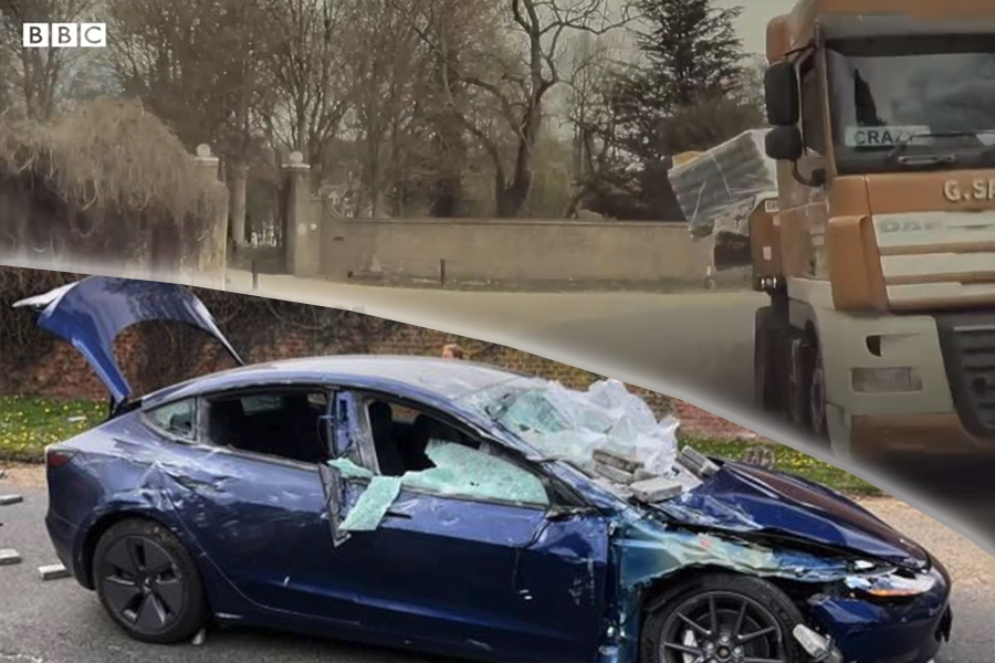 Tesla crushed by lorry